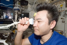 Expedition 33 flight engineer Akihiko Hoshide of the Japan Aerospace Exploration Agency performs ultrasound eye imaging in the Columbus laboratory of the International Space Station. Human research adds to model animal studies to build knowledge of eye health during spaceflight.