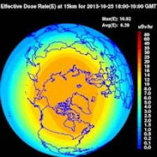 A NASA NAIRAS model shows radiation levels over the northern hemisphere on Oct. 25, 2013.