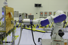Located at Kennedy but commanded from Goddard, the RROxiTT industrial robot mimics how future space robots could transfer oxidizer to satellites that were not designed to be serviced.