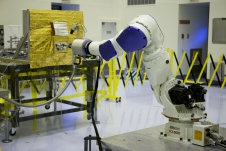 Located at the Kennedy Space Center but commanded from Goddard, the RROxiTT industrial robot mimicked how future space robots could transfer oxidizer to a satellite valve.
