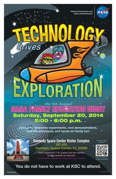 Image of poster for NASA Family Education Night event scheduled for September 20, 2014 at the Kennedy Space Center Visitor Complex.