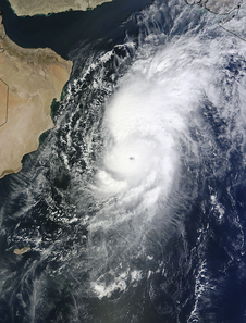 NASA's Terra satellite captured this image on Oct. 28 at 06:50 UTC (2:50 a.m. EDT) as Tropical Cyclone Nilofar was moving north in the Arabian Sea.