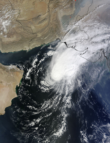 NASA's Terra satellite captured this image on Oct. 30 at 06:35 UTC (2:35 a.m. EDT) as Tropical Cyclone Nilofar was approaching the Pakistan/India border.