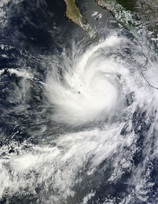 swirling tropical storm seen from space