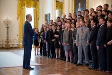 President Barack Obama talks with the Presidential Early Career Award for Scientists and Engineers (PECASE) recipients in the East Room of the White House.