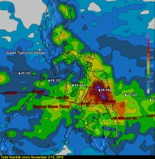 Rain totals for Haiyan and 30W