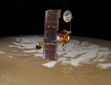 NASA's Mars Odyssey spacecraft passes above Mars' south pole in this artist's concept illustration