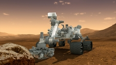 This artist's concept features NASA's Mars Science Laboratory Curiosity rover, a mobile robot for investigating Mars' past or present ability to sustain microbial life