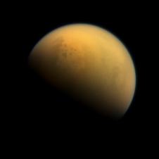 Using a special spectral filter, the high-resolution camera aboard NASA's Cassini spacecraft was able to peer through the hazy atmosphere of Saturn's moon Titan