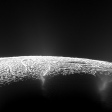 This view looks across the geyser basin of Saturn's moon Enceladus