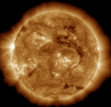 The dark region seen on the face of the sun at the end of March 2013 is a coronal hole