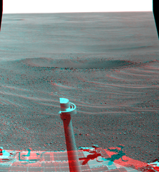 "This stereo view from NASA's Mars Exploration Rover Opportunity shows ""Lunokhod 2 Crater,"""