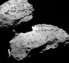 This annotated image depicts two of the five potential landing sites for the Rosetta mission's Philae lander.