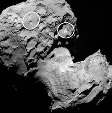 This annotated image depicts the two potential landing sites for Rosetta's Philae lander that are on the comet's larger lobe