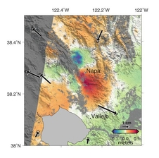 NASA, Italian Space Agency (ASI) and university scientists analyzed radar images from ASI's COSMO-SkyMed satellites to calculate Earth surface deformation from the Napa quake. The colors show how much permanent surface movement occurred during the one-month interval between two satellite images.