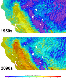Figures are the same as above, but zooms in over the Northern California-Nevada region, highlighting local climate projections.