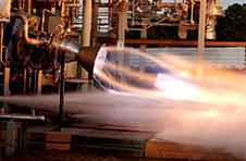 A rocket engine is fired during a test at the Marshall Space Flight Center in Huntsville, Ala.