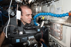 NASA astronaut Rick Mastracchio observing the activities of the Ants In Space CSI-06 investigation aboard the International Space Station