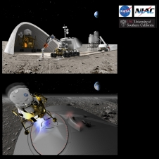 Artists rendition of road and landing pad on the moon. NASA insignia, NIAC logo, USC logo.