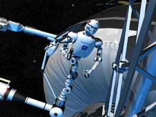 "Visualization of the NASA's ""Robonaut"" working on the International Space Station."