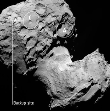 This annotated image depicts the backup landing site (Site C) chosen for the Rosetta spacecraft's Philae lander.
