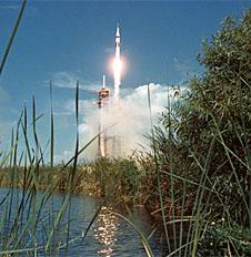 The Apollo 11 Saturn V launches