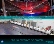Advanced Solar Array: Powering Exploration, NASA Insignia, Technology Drives Exploration