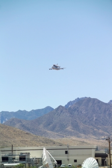 Space Shuttle Atlantis makes a low pass with the Organ Mountains in the background on June 1, 2009.