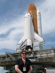 Meehan at the Space Shuttle roll out