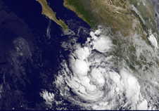 tropical storm clouds over the coast of Mexico