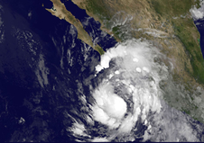 Tropical Storm Simon as seen by GOES satellite