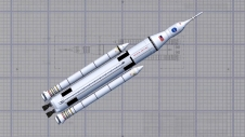 Artist concept of the Space Launch System (SLS) wireframe design.
