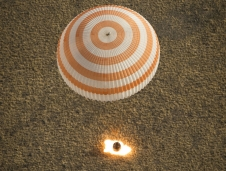 Soyuz TMA-08M spacecraft lands in a remote area near the town of Dzhezkazgan, Kazakhstan, on Wednesday, Sept. 11, 2013.