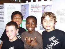 East Lyme, Conn.: 5th graders Noah, Brandon, Makaih, and Nick are feeling confident after facing the SSEP Step 1 Review Board at East Lyme's Race to Space Night.