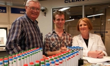 (L to R) George Aldrich, Daniel Browning Smith, and Pam Dalton, Ph. D., in the Monell Chemical Senses Center during the scent test.