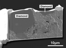 This is a secondary electron image of two large diamond crystals in the matrix of the Sutter's Mill number SM2 meteorite, as prepared by a focused ion beam. The origin of the diamonds is something of a mystery since they are considerably larger than those found in any chondritic meteorites.