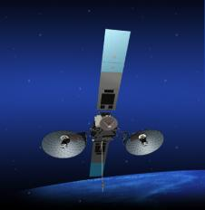 An artist concept of the TDRS-K spacecraft in orbit
