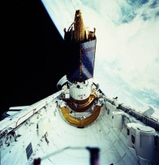 TDRS-1 stack prior to release from the STS-6 payload bay
