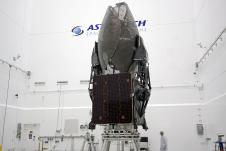 The TDRS-K spacecraft stands inside a processing hangar in Titusville, Fla.