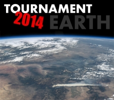 Tournament Earth 2014, superimposed over ISS image of fire in Colorado