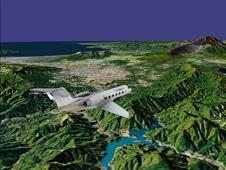 The highly accurate 3D-rendering capabilities of the TerraBlocks engine are demonstrated in this exo-centric aircraft view near Mt. Fuji, Japan, generated for an in-flight entertainment application.