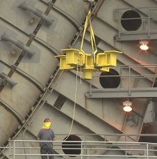 A thrust frame adapter is lifted onto the A-1 Test Stand at NASA's Stennis Space Center in the closing days of 2013.