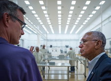 NASA Administrator Charles Bolden visits a contractor partner clean room to view a satellite before launch. Hands-on experiences with technology partners will help technology drive exploration.