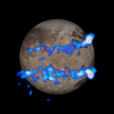 Hubble telescope image of Ganymede auroral belts