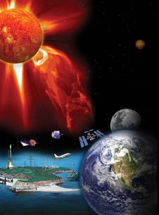 Artist's concept of a space weather, the factors that cause it and technology impacted by it.
