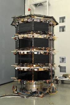 The four MMS spacecraft stacked for testing.
