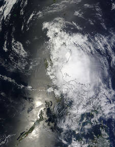 NASA's Terra satellite captured this visible image of Tropical Storm Maysak made landfall in Luzon, Philippines on April 5.