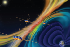artist's concept of the MMS observatory fleet with rainbow magnetic lines