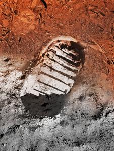 Imagem do conceito do artista de uma pegada na Lua e em Marte.