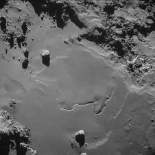 A patch of relatively smooth ground on the nucleus surface of comet 67P/Churyumov-Gerasimenko